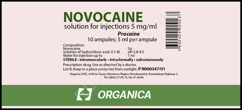 NOVOCAINE® (Procaine) 0,5%, 10 amps/pack, 5 mg(ml)/amp