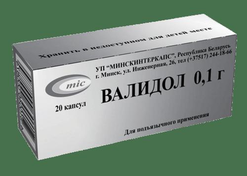 VALIDOL® (Validolum) 20 tabs/pack, 100 mg/tab