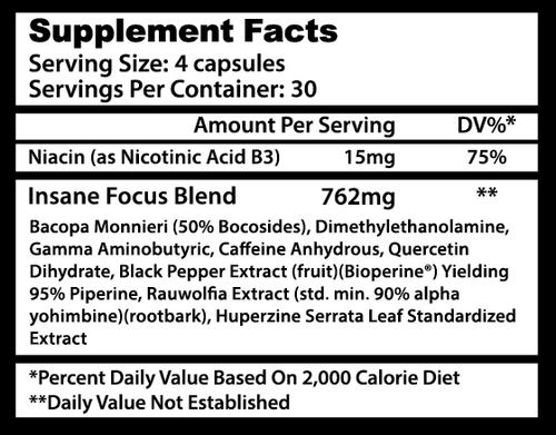 INSANE FOCUS® (Energy boost), 120 caps, 762 mg/cap