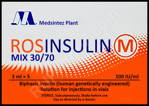 ROSINSULIN M MIX®, 5 vials, 100 UI, 30/70, 3ml/vial