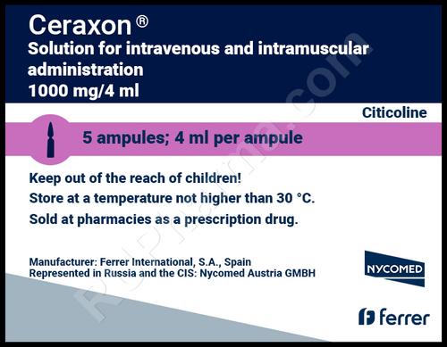 CERAXON®, (Citicoline, Cognizin, NeurAxon, Somazina, Synapsine) 5 ampoules/pack, 1000 mg(4ml)/ampoule