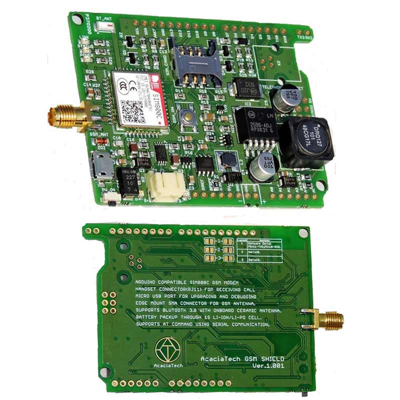 GSM Shield/Board - Quad-band GSM/GPRS Solution Integrating SIM800C
