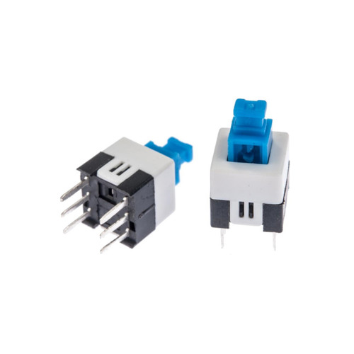 6 Pin Mini Push Button Square Switch Self-Locking DPDT PCB Mount