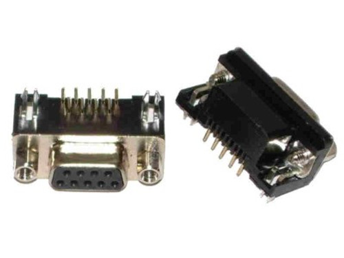 9Pin RS232 DB9 D-Subminiature Female Connector Right Angle Through Hole PCB Mount