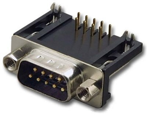 DB9 Male Connector Right Angle (PCB Mounting)