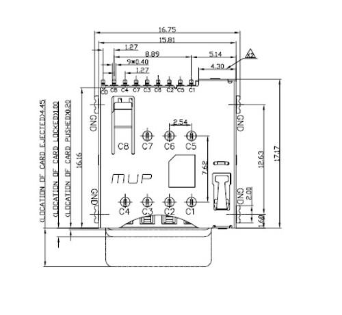 Micro SIM Card Connector MUP-C792 8P (Push-Push Lock Type)
