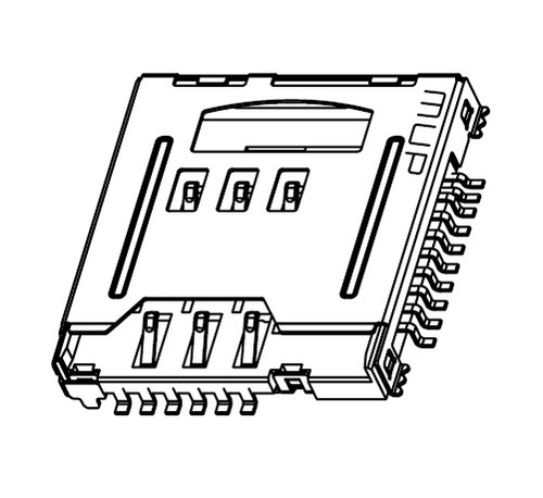 Micro SIM (6Pin) + Micro SD Card (8Pin) Holder MUP-M618