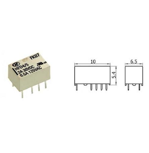 Hongfa HFD4/5 2A 5VDC Subminiature PCB Through Hole Signal Relay