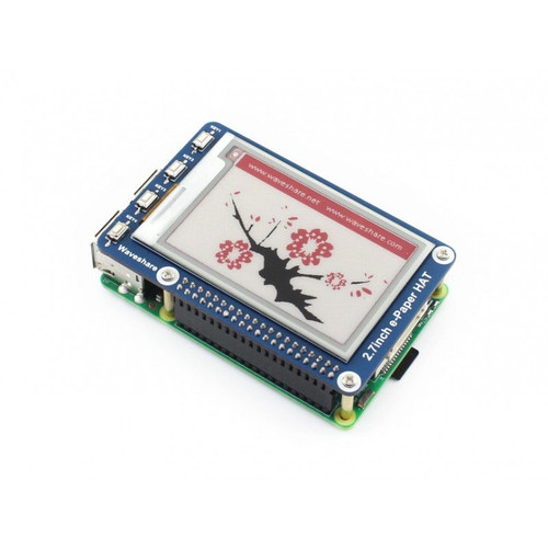 2.7 inch E-Paper Display HAT for Raspberry Pi, Three-color, SPI interface, 264x176 Resolution - Waveshare
