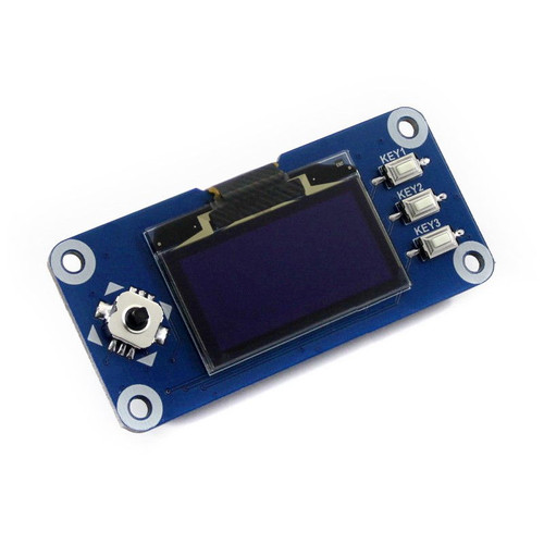 1.3 inch OLED Display HAT for Raspberry Pi, 128x64 pixels, SPI/I2C interface - Waveshare