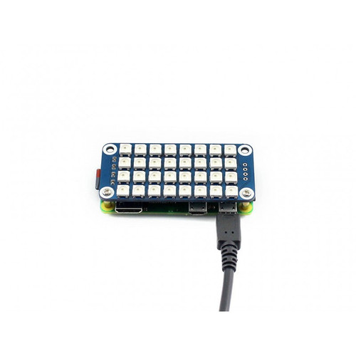 True color RGB LED HAT for Raspberry Pi, Colorful Display, 4x8 Grid - Waveshare