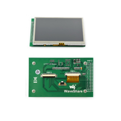 4.3 inch DOTS Multicolor Graphic LCD, with Resistive Touch Screen, 480x272 Resolution - Waveshare