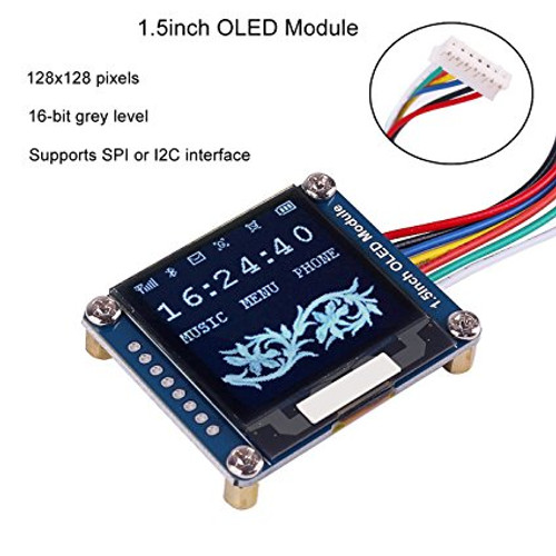 1.5 inch OLED display Module128x128 pixels, 16 gray scale - Waveshare