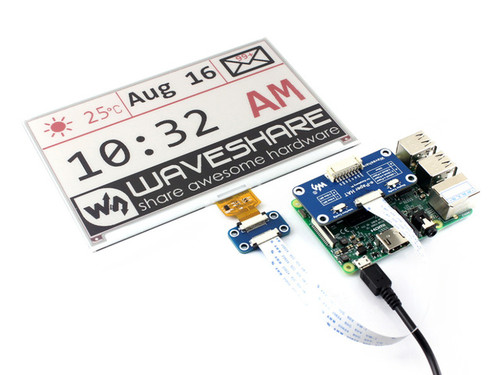 7.5inch E-Ink display HAT for Raspberry Pi 800×480 3-color SPI - Waveshare