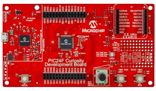 DM240004 MICROCHIP Curiosity  Development Board with PIC24FJ128GA204 MCU, Integrated Programmer/Debugger, Analog Potentiometer