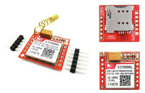 SIM800L Module+Helical Antenna - SIM800L Module + Helical Antenna with goldpin headers for Arduino - SIMCom