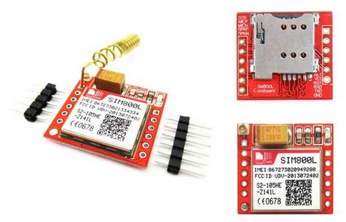 SIM800L Module+Helical Antenna - SIM800L Module + Helical Antenna with goldpin headers for Arduino - SIMCom