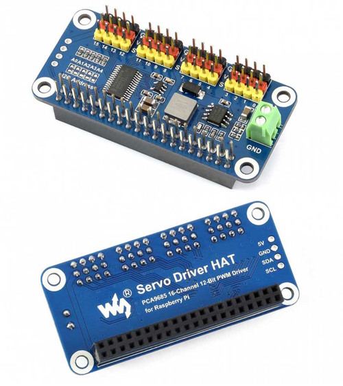 Servo Driver HAT for Raspberry Pi, 16-Channel, 12-bit, I2C - Waveshare