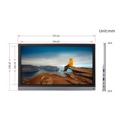15.6inch Universal Portable Touch Monitor, 1920×1080 Full HD, IPS, HDMI/Type-C - 16527 - Waveshare