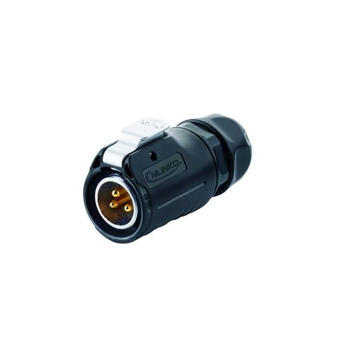 LP-20-C03PE-01-022 - LP-20 Series 3-Pin Male Plug IP67 Waterproof Power Connector - Linko Electric