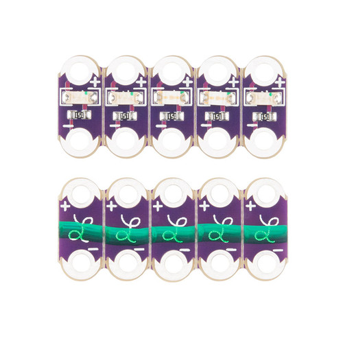 DEV-14011 - LilyPad Green LED (5pcs) Strip 5.5x12.5mm SparkFun - SparkFun