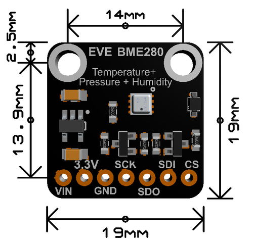 Evelta BME280 I2C or SPI Temperature Humidity Pressure Sensor