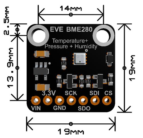 Evelta BME280 I2C or SPI Temperature Humidity Pressure Sensor Breakout 2