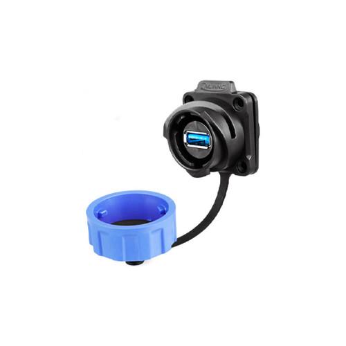 YM-24-J/USB3/213/SX-42-401 - YM-24 Series USB3 Female Socket Dual IP67 Waterproof Data Connector