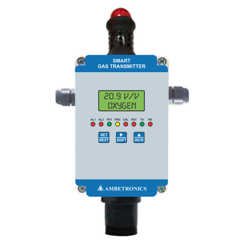 Weatherproof Smart Gas Detector with buzzer cum Flasher for Oxygen, Toxic & Combustible Gases, PESO Certified