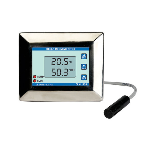 CRM-142-R - Ambetronics Battery-powered Cleanroom Monitor with Temperature & Humidity Remote TRH Sensor