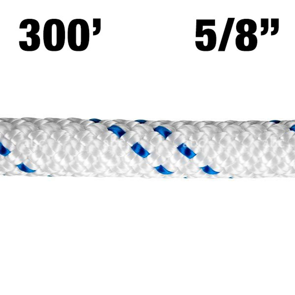 "Rope -- New England - KMIII - 5/8"" - White w/ Blue Tracer - 300'"