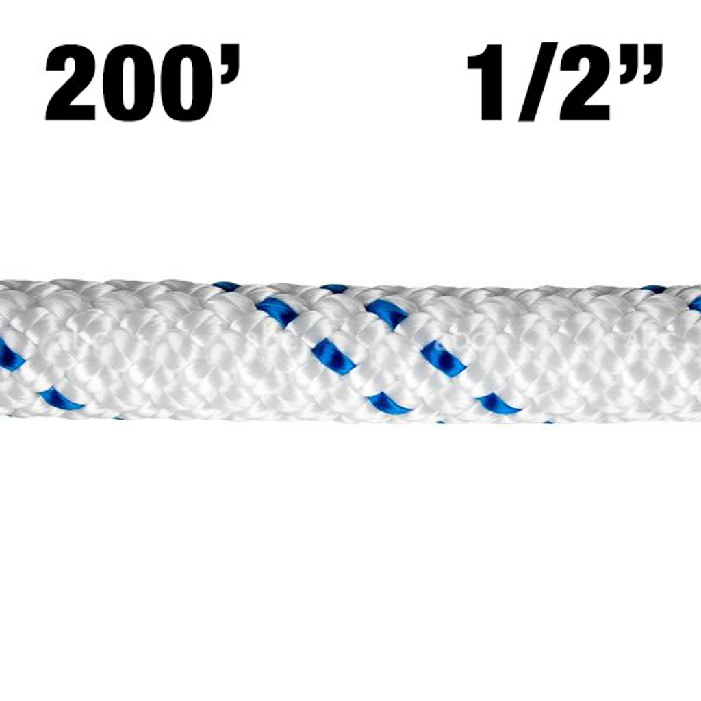 """Rope -- New England - KMIII - 1/2"""" - White w/ Blue Tracer - 200'"""