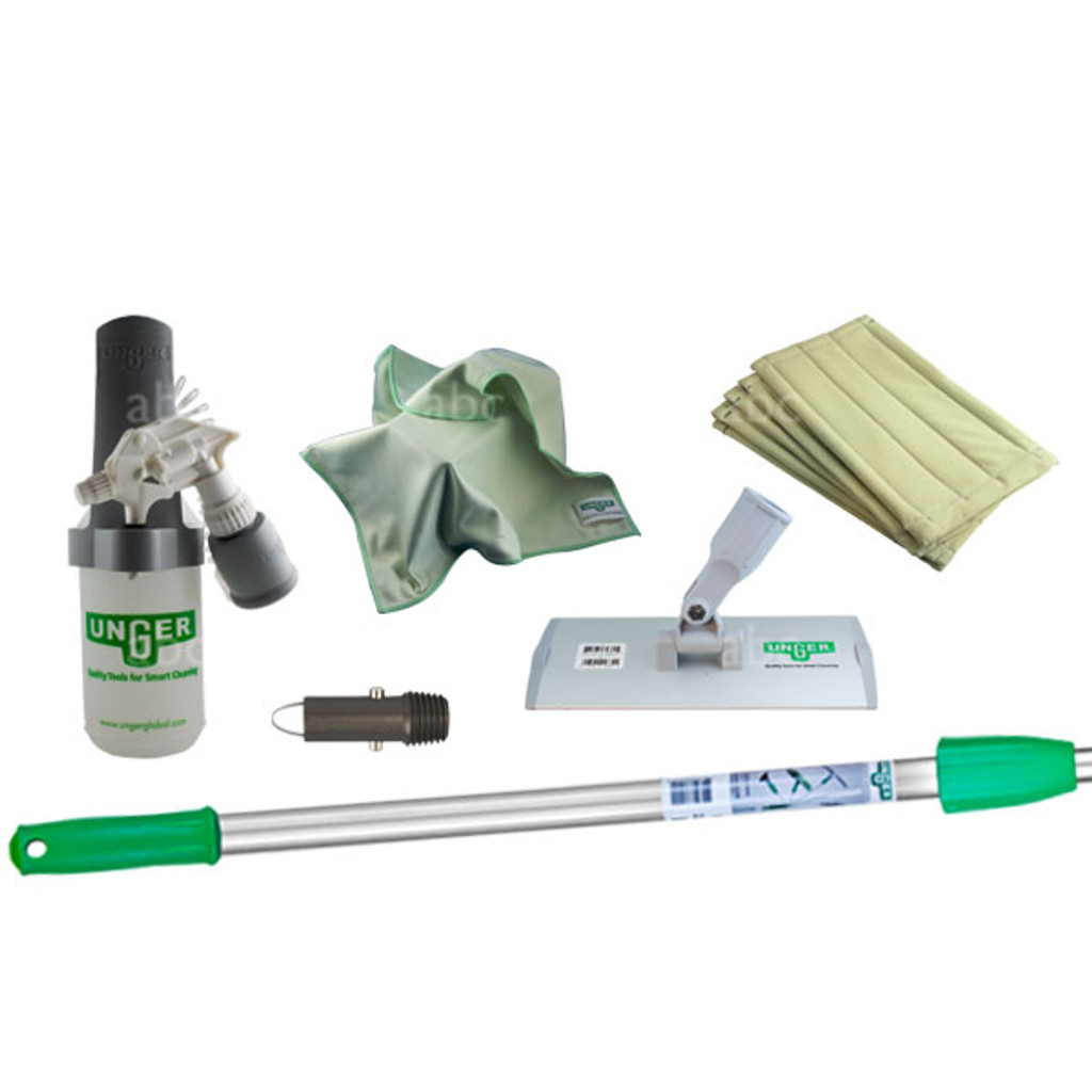 "Kit Contents:  SOABG: Sprayer on a belt PHD20:  Handheld pad holder PHH20:  8"" Aluminum pad Holder with Euro fittings (German threading) AFAET:  HiFlo Thread Adapter for Aluminum Poles PHW20: 8"" Microfiber ""Washing"" Pad (3) PHL20:  8"" Microfiber Luster Pad (3) ED180:  OptiLoc Three Section Telescopic Pole - 6'"