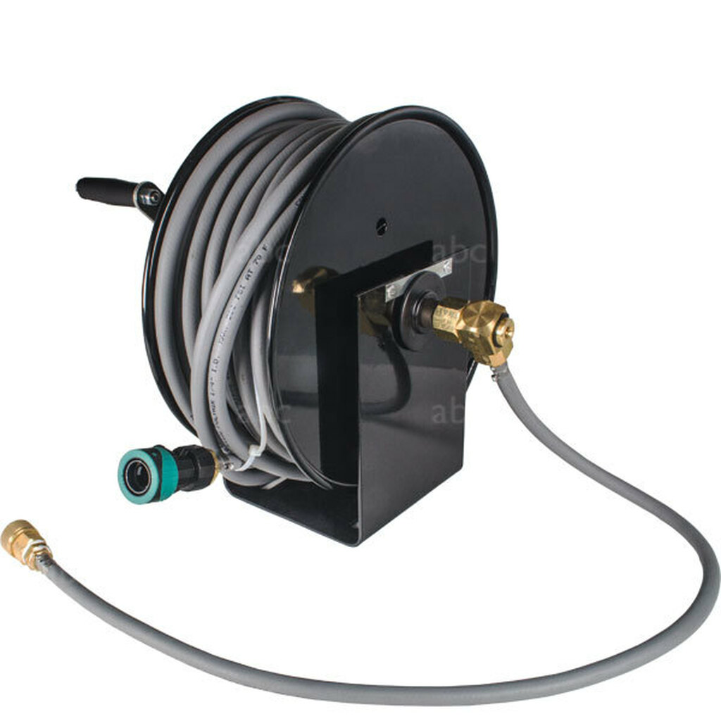 """WaterFed® Black Cox Mini Hose Reel With 100' of 1/4"""" Hose"""