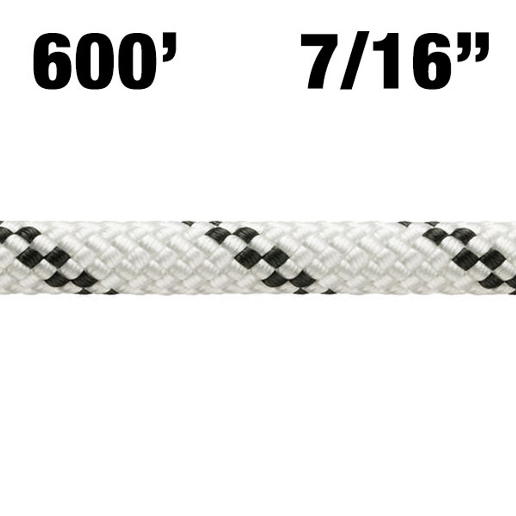"""Rope - Petzl - Axis - 600' - 7/16"""" (11mm) - White w/ Black Tracer - NFPA T - 6000lbf - Nylon/Polyester"""