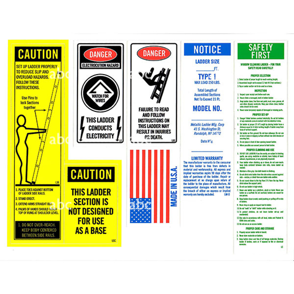 Replacement Label Set for Metallic Ladders