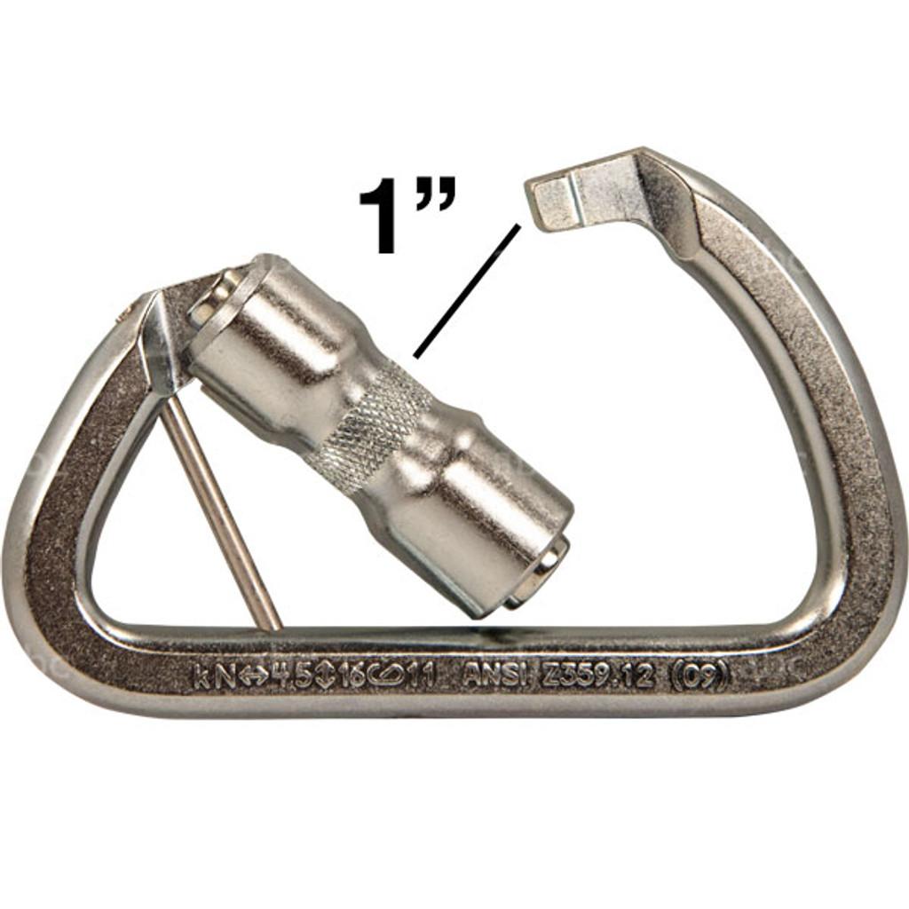 """SMC SM102100 1"""" Gate Opening Manual Locking Steel Carabiner"""