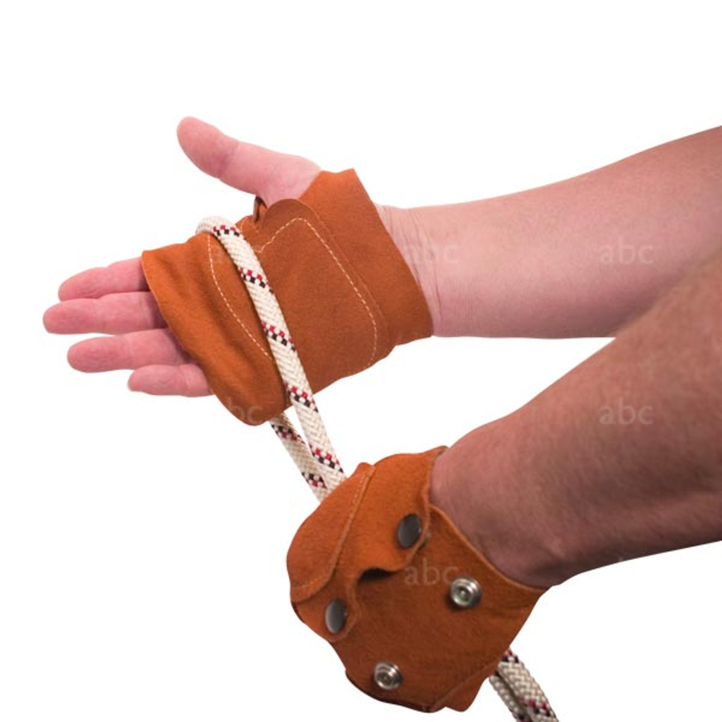 Gloves -- Rope Work - Pair - Palm Guard - Fingerless - Leather