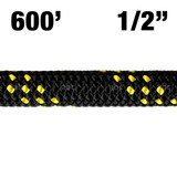 "Rope -- New England - KMIII - 1/2"" - MAX Black w/ Yellow Tracer - 600'"