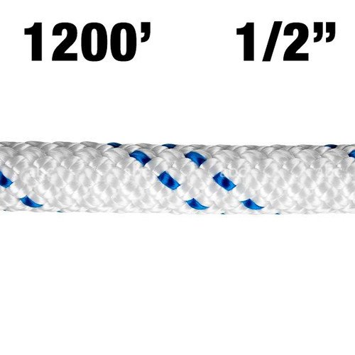 "Rope -- New England - KMIII - 1/2"" - White w/ Blue Tracer - 1200'"