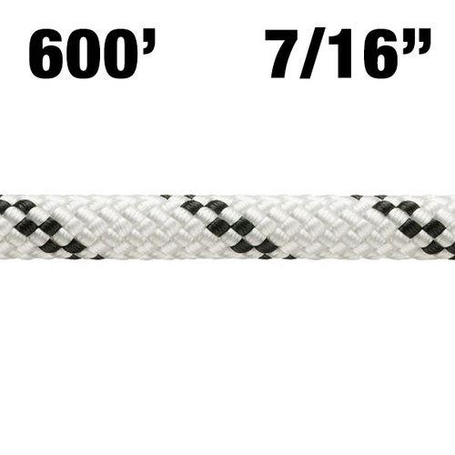 "Rope - Petzl - Axis - 600' - 7/16"" (11mm) - White w/ Black Tracer - NFPA T - 6000lbf - Nylon/Polyester"