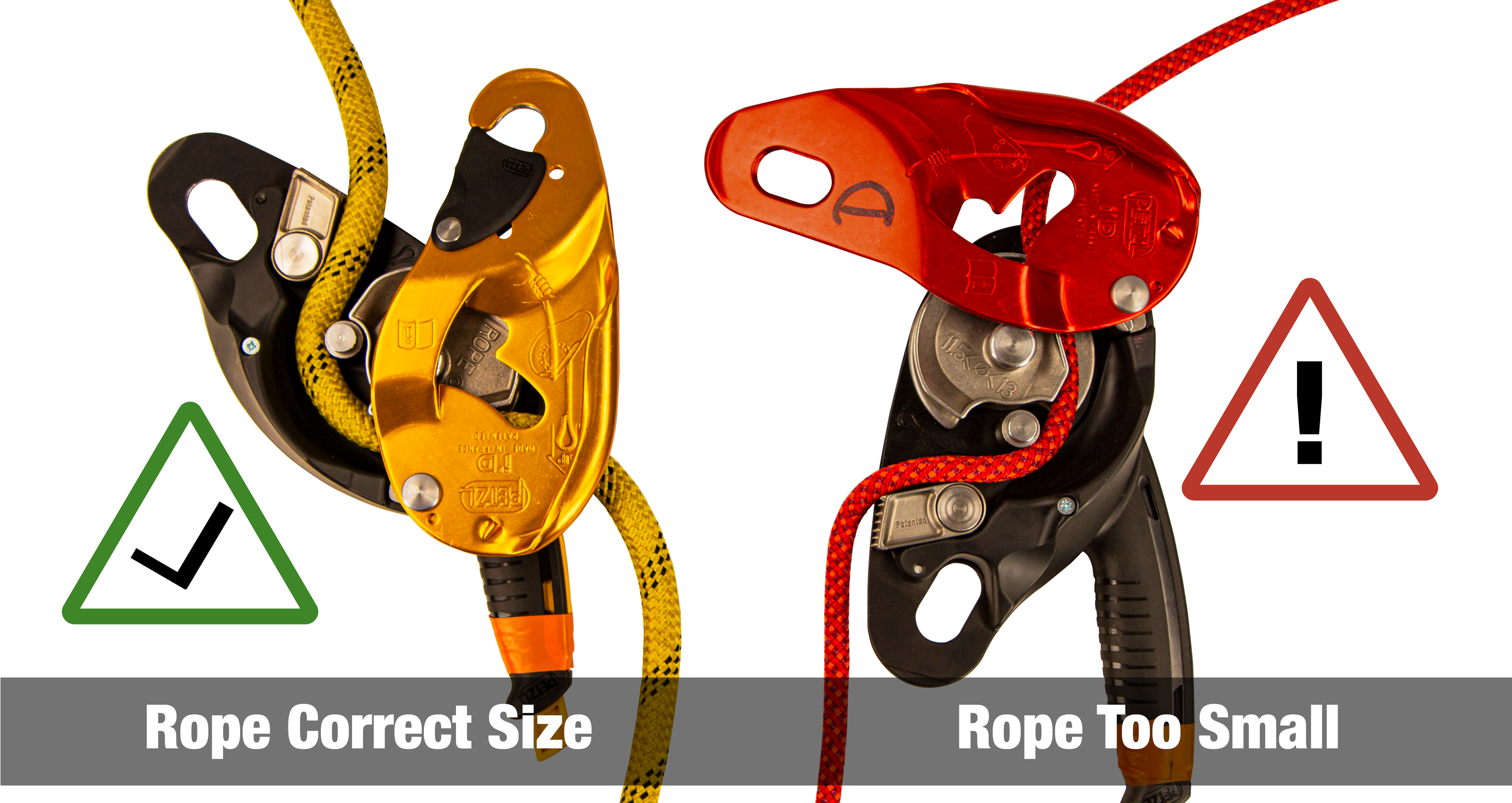 Illustration of proper and improper pairing of rope and descent devices.
