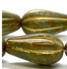 8x15mm Olive with Picasso Finish Melon Drop - SOLD PER BEAD