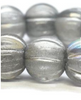 8mm Large Hole Melon Strand - Transparent Glass with Silver and AB Finish - 20 Beads