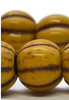 8mm Large Hole Melon Strand - Yellow Gold with Brown Wash  - 20 Beads
