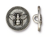 Silver Pewter Bee Button (1 Button)