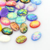 25x18x9mm Oval Resin Imitate Opalite Cabochons, Mixed Color (6pk)