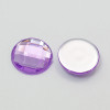 Imitation Taiwan Acrylic Rhinestone Cabochons, Faceted, Half Round/Dome, Dark Violet, 18x5mm (6pk)