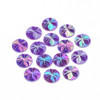 Acrylic Cabochons, AB Color Plated, Faceted, Dome/Half Round, Dark Violet, 12x3mm (12pk)