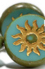 22mm Sun Coin Turquoise Green with Gold Wash and Picasso Finish